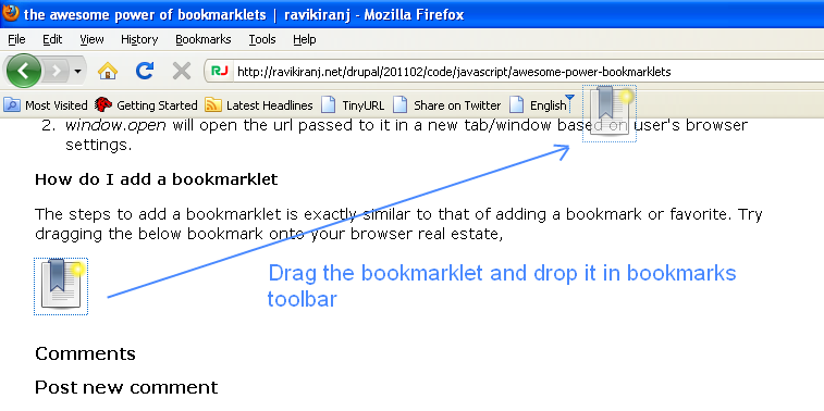 adding bookmarklet to bookmarks bar of the browser