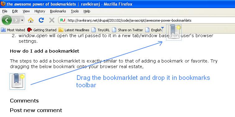 the awesome power of bookmarklets | ravikiranj net
