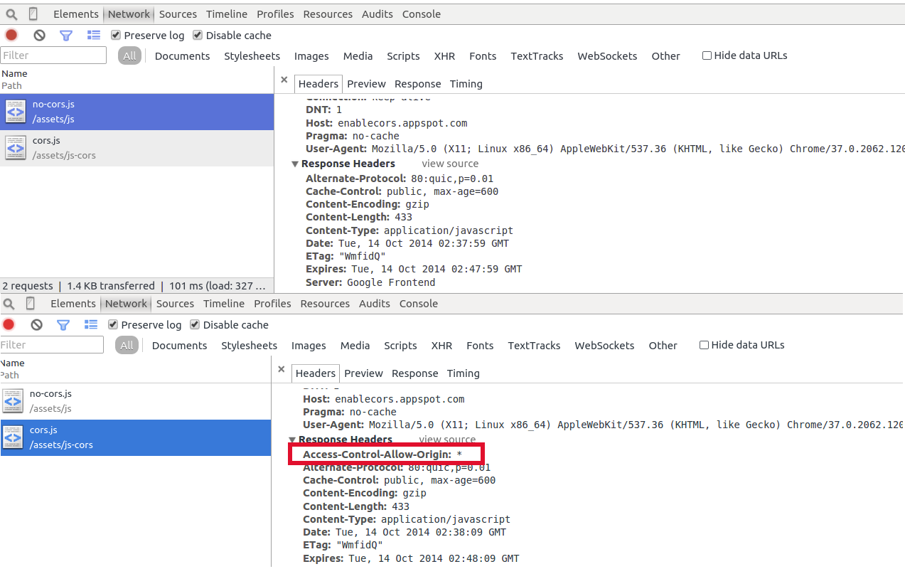 chrome dev tools screenshot showing cors headers in net tab